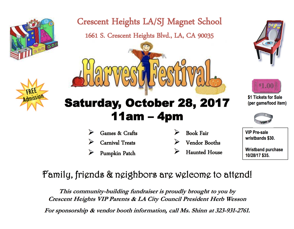 Harvest Festival SATURDAY at Crescent Heights School
