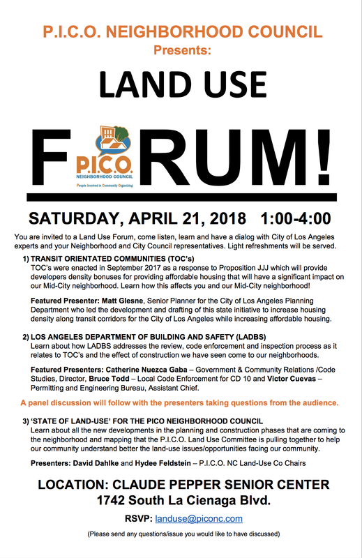 PICO Land Use Forum THIS SATURDAY!