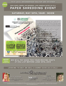 Paper Shredding Event May 18th 2019