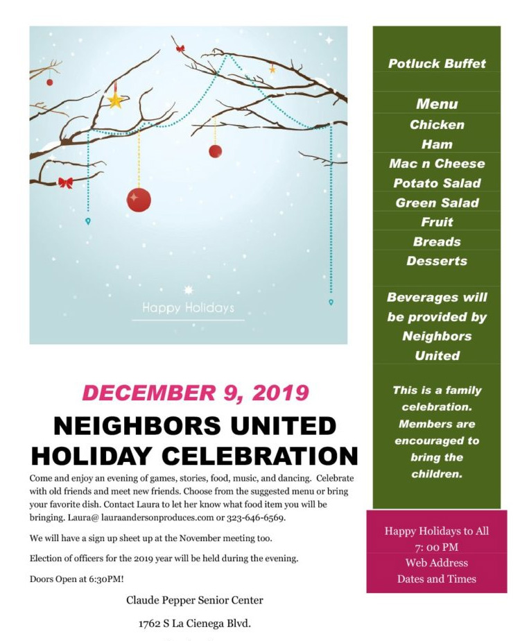 Neighbors United Holiday Celebration 2019