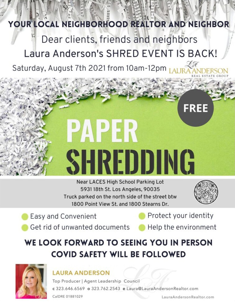 Laura Anderson's Paper SHRED Event –  August 7th 10am-12pm