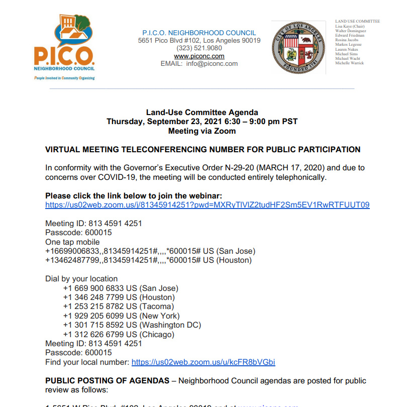 PICO Neighborhood Council –  Land Use Committee Meeting September 23rd